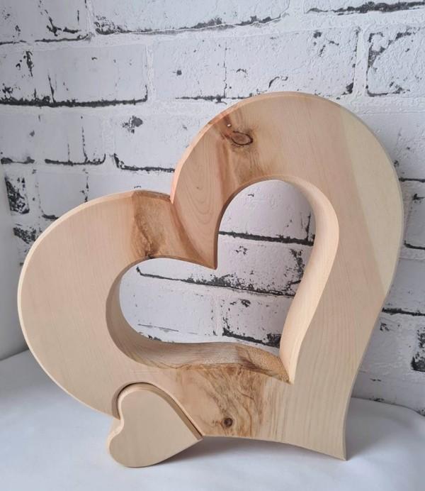 Doppel Herz - Groß & Klein aus Zirbenholz