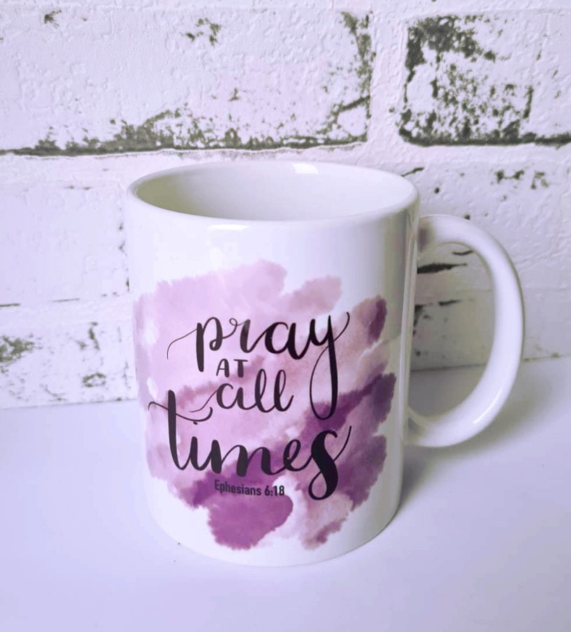 Keramik Tasse - Pray at all times LILAC