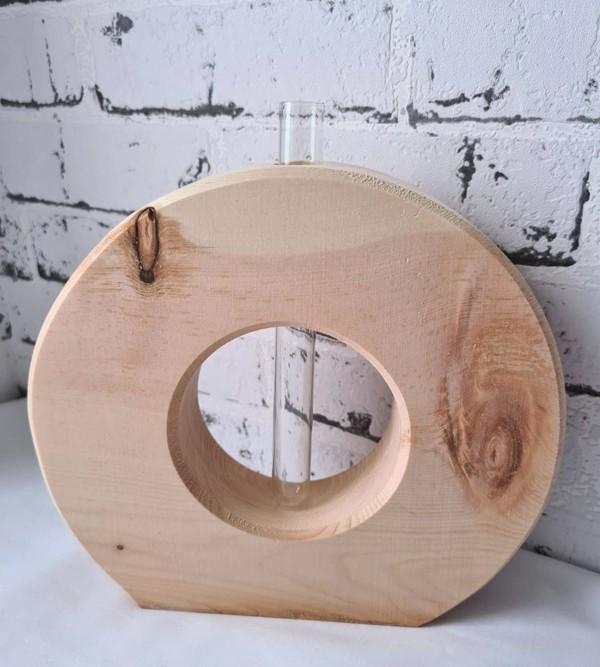 Zirbenholz Vase mit Reagenzglas
